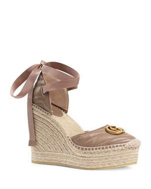 e2ac5da449f Gucci Palmyra Leather Platform Espadrille Wedges