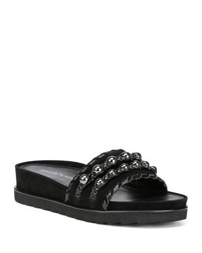 Carlie Suede Comfort Slide Sandals