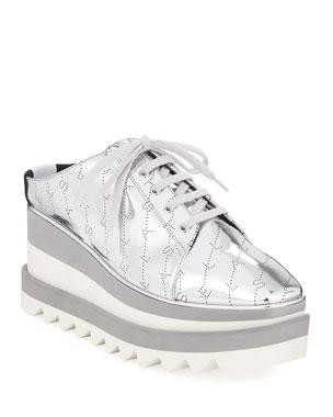 71784e52c Stella McCartney Sneak-Elyse Metallic Platform Mule Sneakers