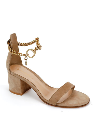 Suede Ankle Chain Sandals