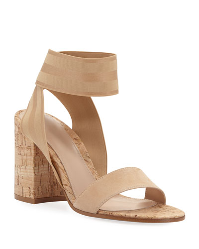 Elastic Ankle-Strap Cork Sandals