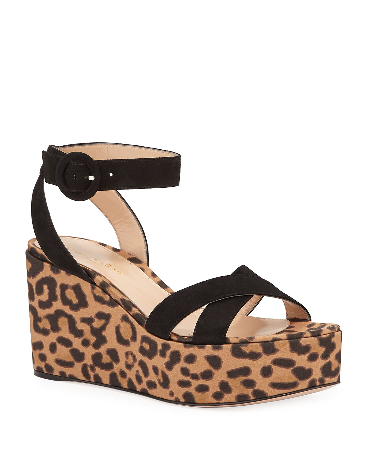 8d0bc01f7384 Gianvito Rossi Leopard Satin Wedge Sandals