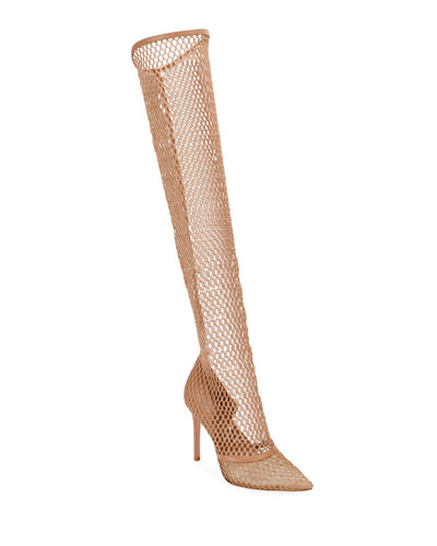 Fishnet Stretch Knee Boots
