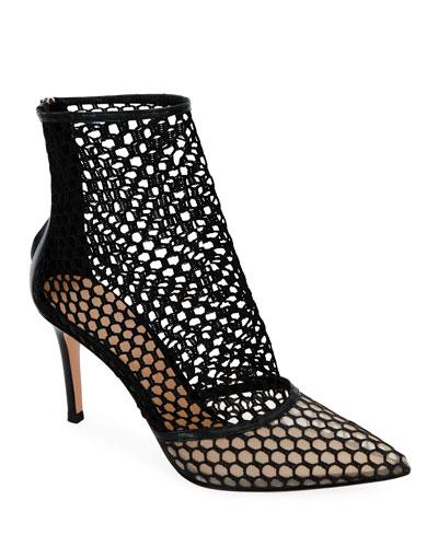 Fishnet High-Heel Booties