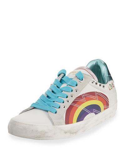Zadig Rainbow Embellished Leather Sneakers