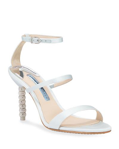 Rosalind Mid-Heel Satin Crystal Bridal Sandals
