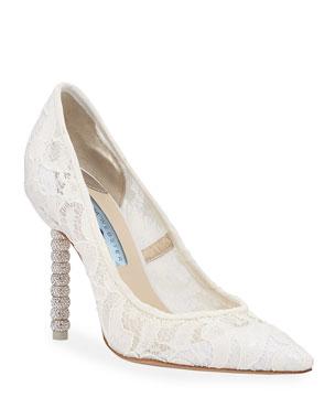89ed211d1e9 Sophia Webster Coco Crystal Lace Bridal Pumps