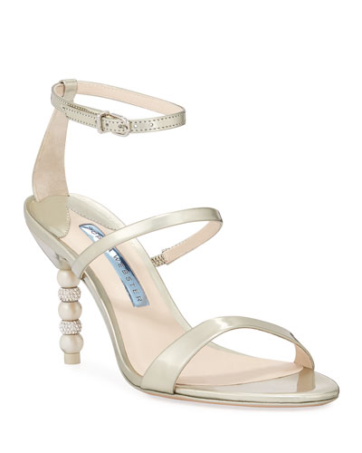 Rosalind Bridal Mid-Heel Crystal Pearly Sandals