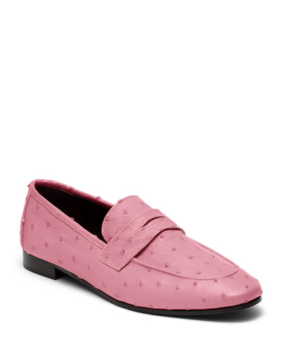 Flaneur Ostrich Slip-On Flat Loafers  Pink