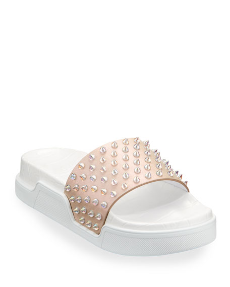 Christian Louboutin Pool Fun Donna Spiked Slide Sandals