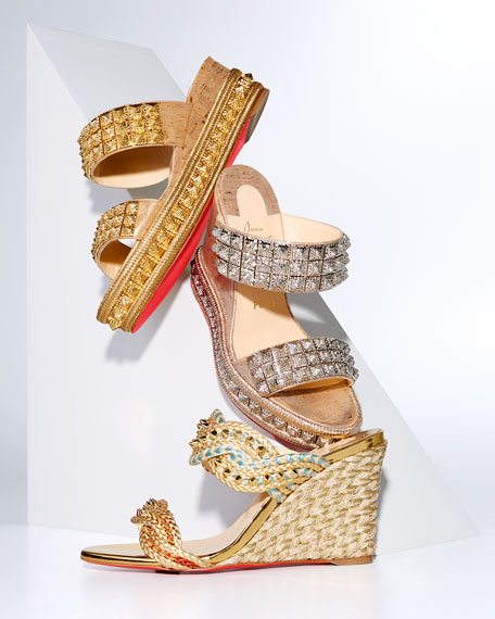Christian Louboutin Normandie Red Sole Slide Espadrilles
