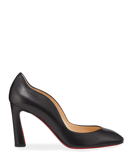Christian Louboutin Agneska Scallop Leather Red Sole Pumps