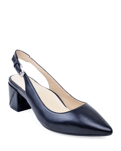 Flynn Leather Slingback Pumps  Black