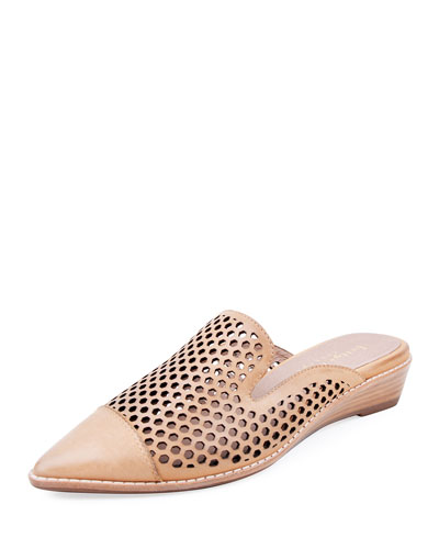 Cara Perforated Leather Mules  Beige