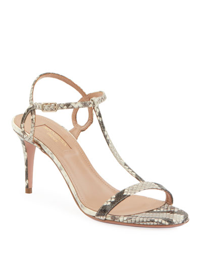 Almost Bare Embossed Leather Sandals