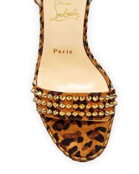 Christian Louboutin Mad Monica Leopard Red Sole Wedge Espadrilles