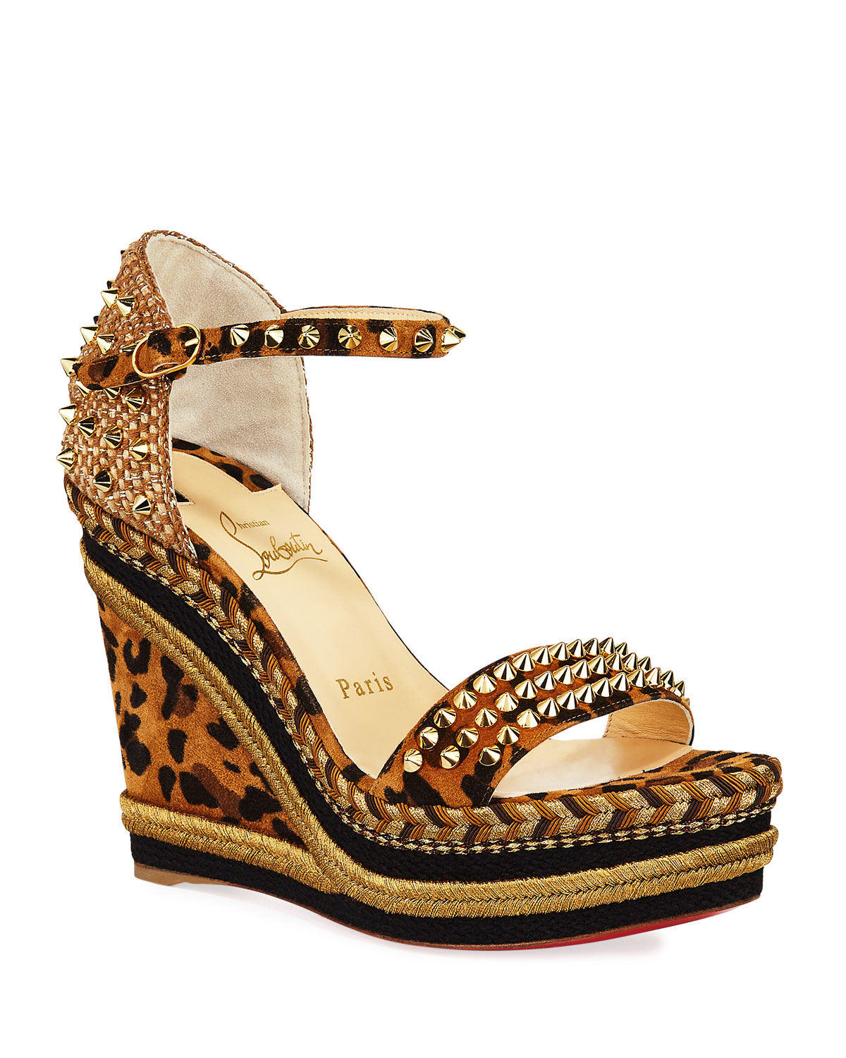 taille 40 775d0 764c6 Mad Monica Leopard Red Sole Wedge Espadrilles