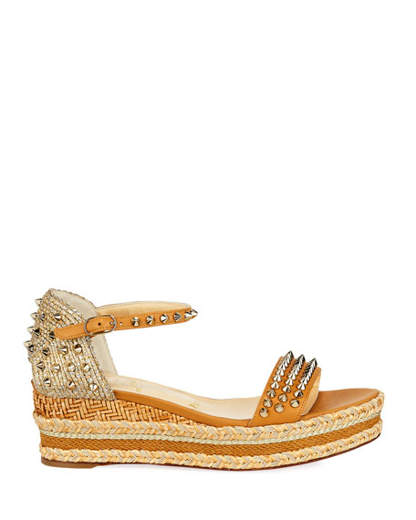 Christian Louboutin Mad Monica Platform Red Sole Wedge Espadrilles
