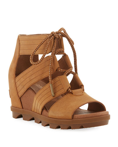 Joanie II Lace-Up Leather Wedge Sandals