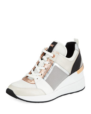 a68bbb5d8030e MICHAEL Michael Kors Georgie Metallic Leather Wedge Sneakers