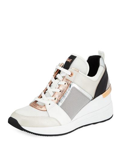 Georgie Metallic Leather Wedge Sneakers