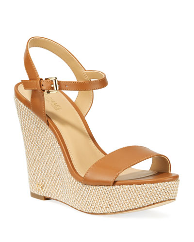 Jill Leather Woven Wedge Sandals