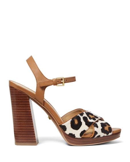 0bbef62a641a Michael Michael Kors Alexia Leopard-Print Calf Hair Platform Sandals In  Acorn