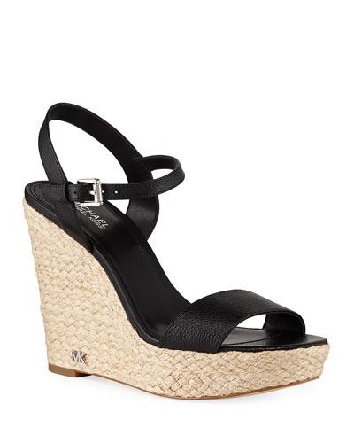 Jill Tumbled Leather Wedge Sandals