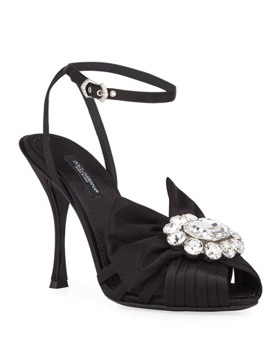 Jeweled Satin Ankle-Wrap Sandals