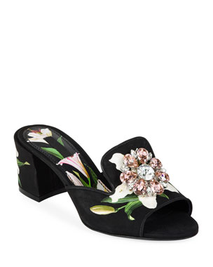 cabc7ab1a0f13 Dolce   Gabbana Lilium Jeweled Slide Sandals