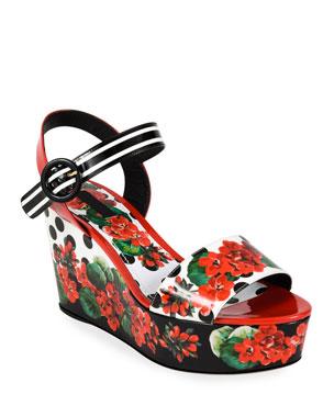 c53f4289a7d50 Dolce   Gabbana Geranio Platform Wedge Sandals