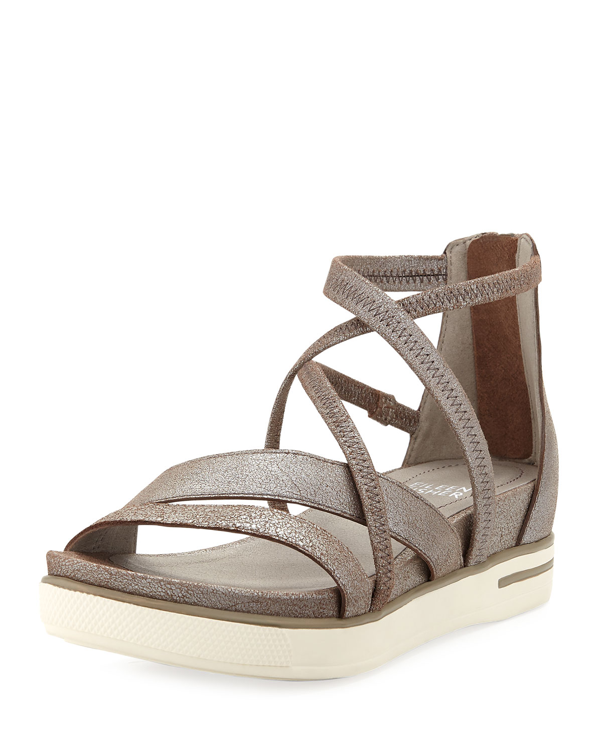 bc4248b4afe4 Eileen Fisher Skip Sport Metallic Leather Platform Sandals