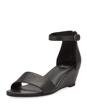 cf761e9eb9ed Eileen Fisher Mara Leather Ankle-Strap Wedge Sandals