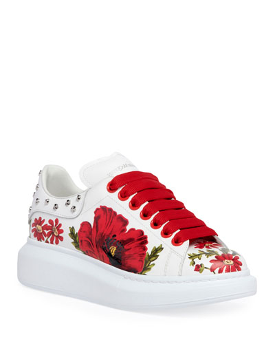 Floral-Printed Leather Sneakers