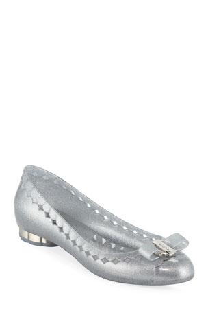 Salvatore Ferragamo Glittered Jelly Bow Flats