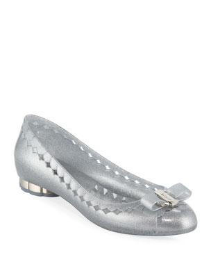 b385073ab Salvatore Ferragamo Glittered Jelly Bow Flats