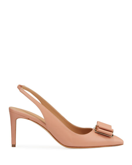 Image 2 of 3: Salvatore Ferragamo Zahir Leather Slingback Bow Pumps