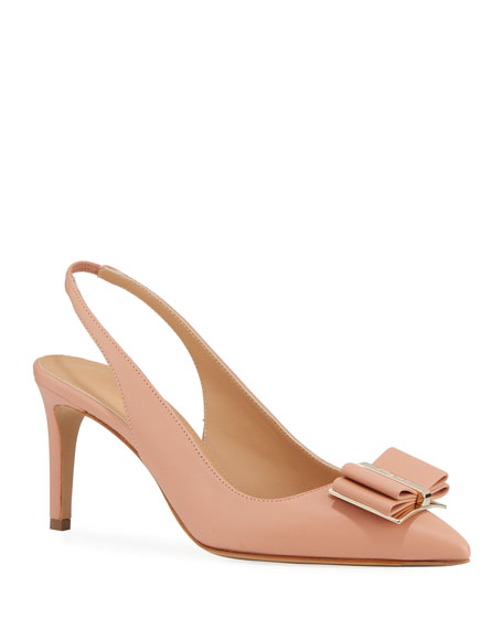 Image 1 of 3: Salvatore Ferragamo Zahir Leather Slingback Bow Pumps