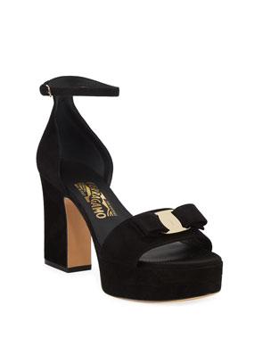 17dce1154397c Salvatore Ferragamo Eclipse Suede Bow Sandals