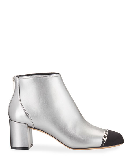 Salvatore Ferragamo Atri 2 Cap-Toe Mini Buckles Metallic Booties