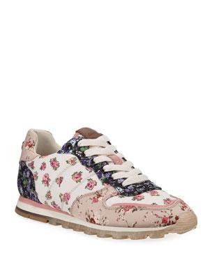 1b0d5169e599 Coach C118 Floral Nylon Lace-Up Trainer Sneakers