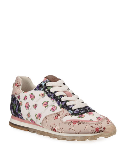 C118 Floral Nylon Lace-Up Trainer Sneakers