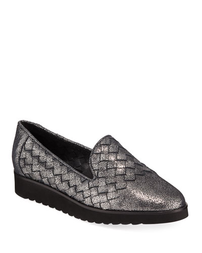 Naia Iconic Woven Leather Loafers  Black Metallic
