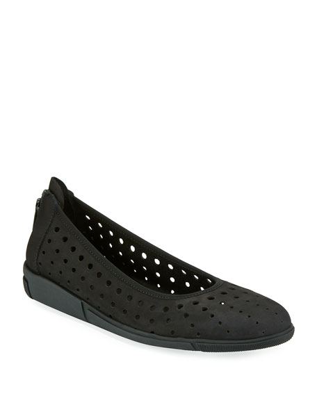 Dova Perforated Slip-On Flat, Black