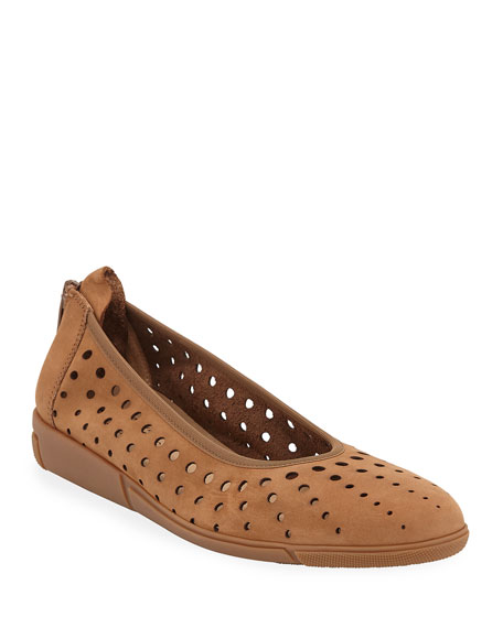 Dova Perforated Leather Comfort Ballet Flats in Brown