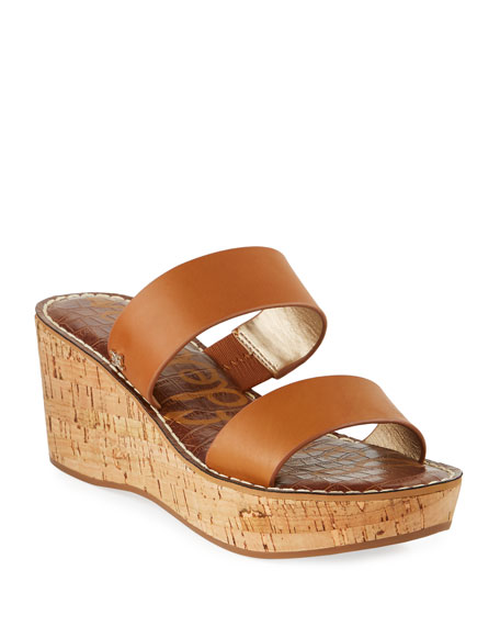 Sam Edelman Sandals RYDELL CORK-WEDGE LEATHER SANDALS, BROWN
