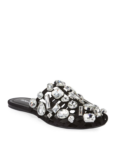 Amelia Crystal-Studded Suede Sandals