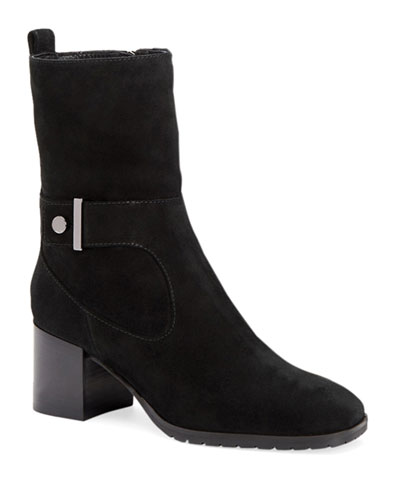 Collette Suede Block-Heel Booties with Strap Detail