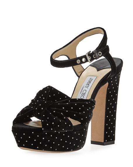 Jimmy Choo Heloise Glitter Spotted Velvet Platform Sandals