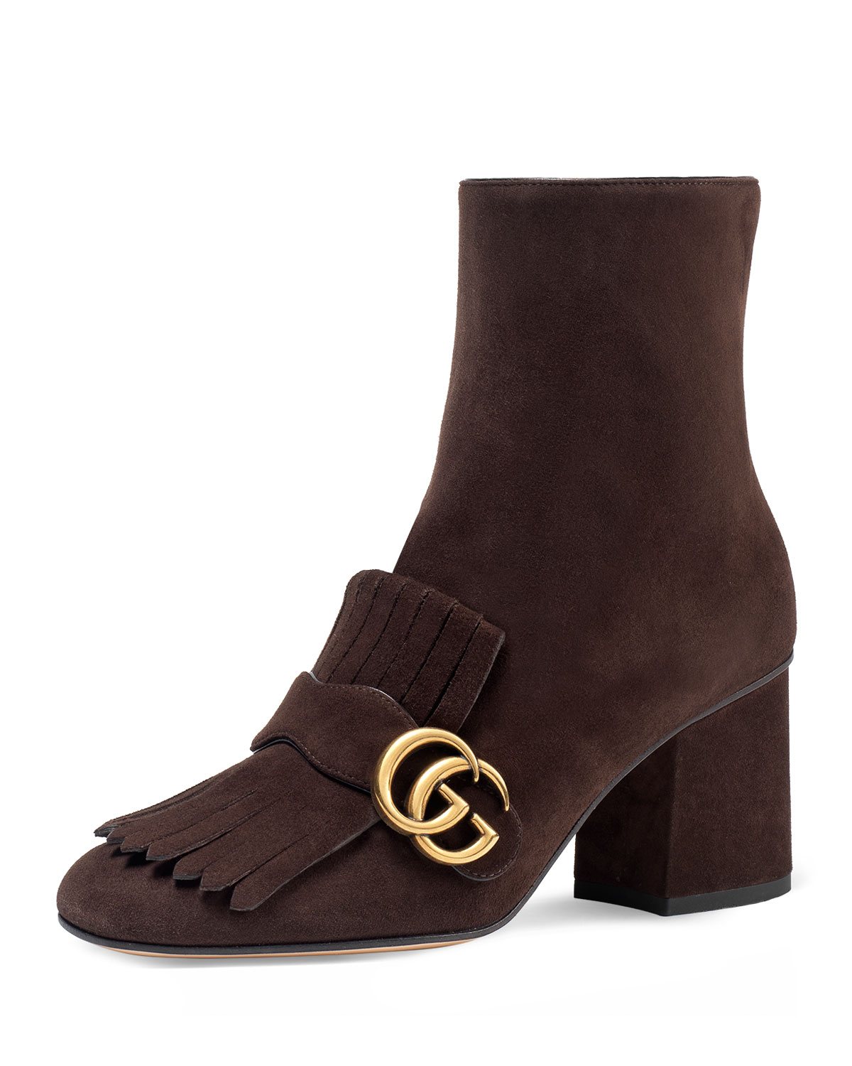 49e14d2ea Gucci Marmont Suede 75mm Ankle Boots, Brown | Neiman Marcus